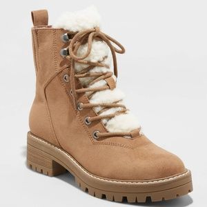 Women's Tessie Microsuede Sherpa Lace-Up Boots